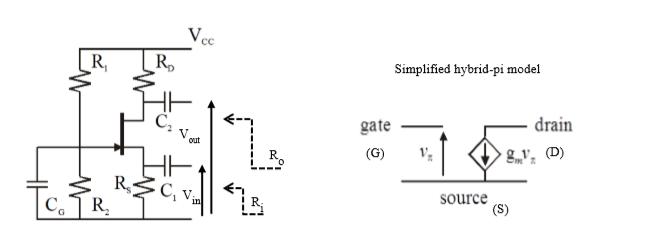 V. Ro R, Simplified hybrid-pi model drain gate (G)V C2 v, D) out R, source V.