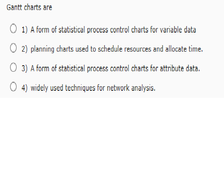 Solved Gantt Charts Are 1 A Form Of Statistical Process