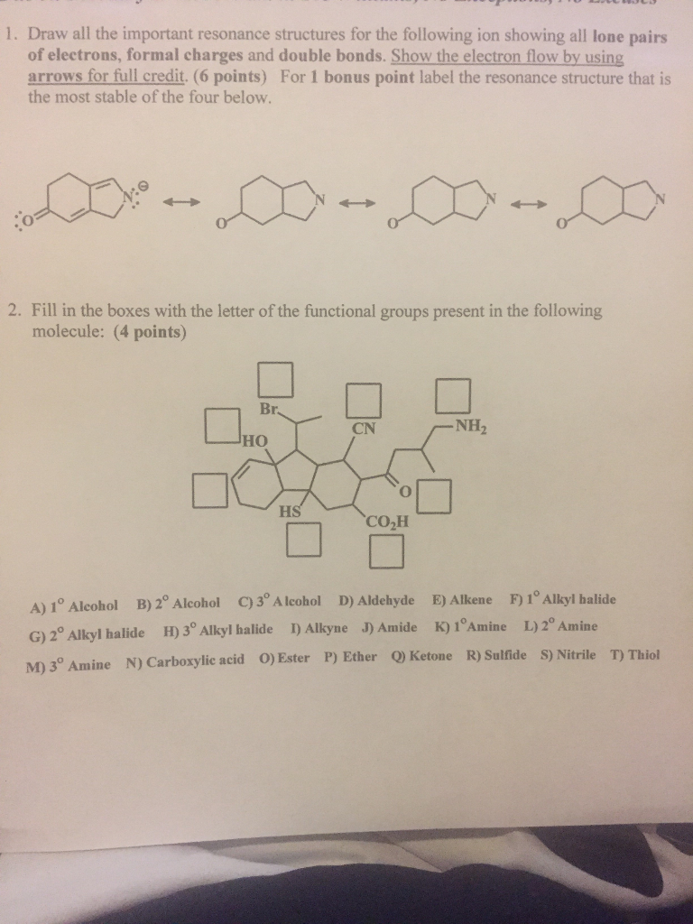 Draw all the important resonance structures for