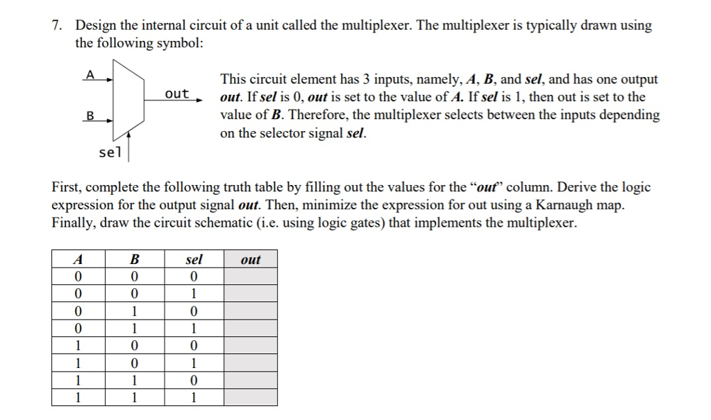Solved 7 Design The Internal Circuit Of A Unit Called Th