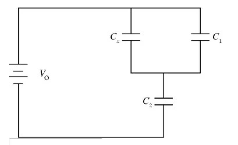 In the circuit sketched in Fig., C1 = 7.