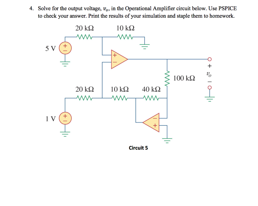 Solved Solve For The Output Voltage Vo In Operation Operational Amplifier Used As An A Simple Explanation Question Circuit Below Use Pspice To Check