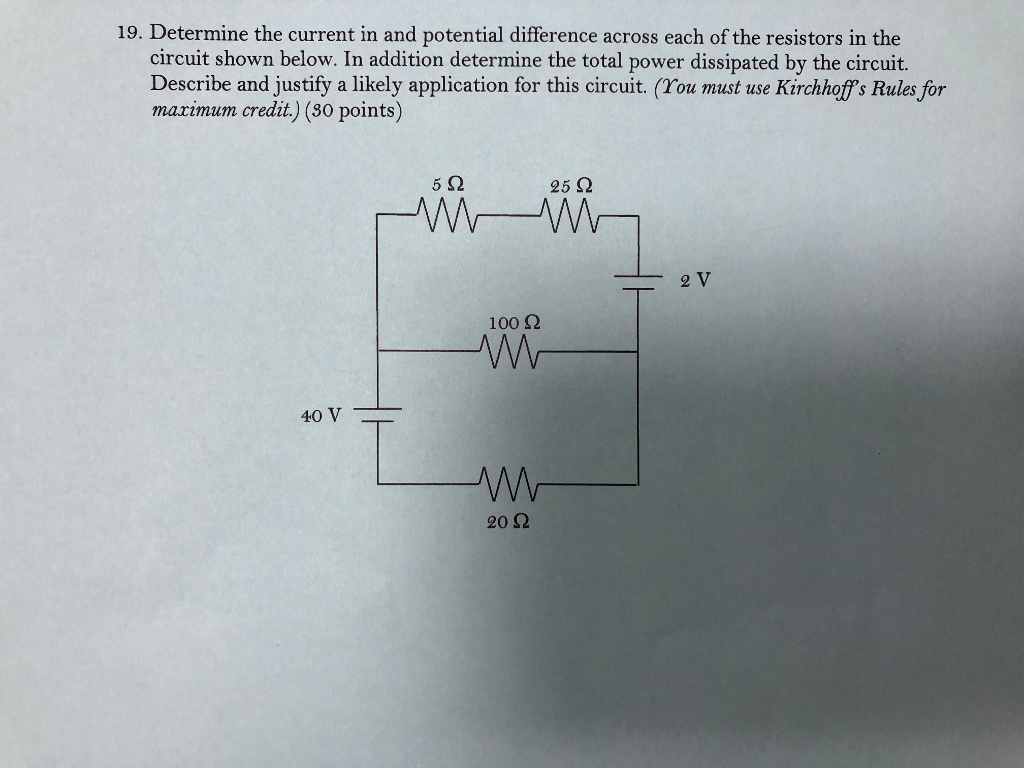 Solved: 19. Determine The Current In And Potential Differe ...