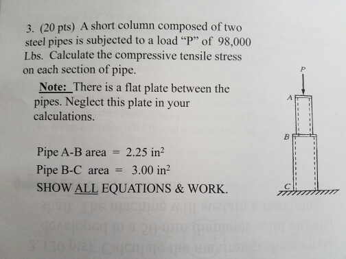 Solved: A Short Column Composed Of Two Steel Pipes Is Subj