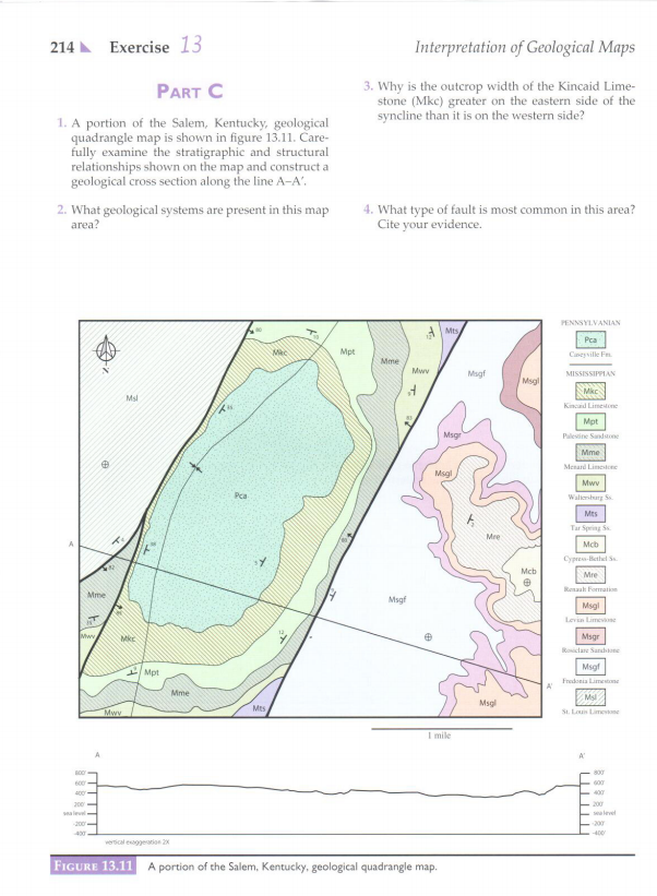 How To Draw A Cross Section From A Topographic Map.In This Exercise You Will Draw A Geologic Cross S Chegg Com