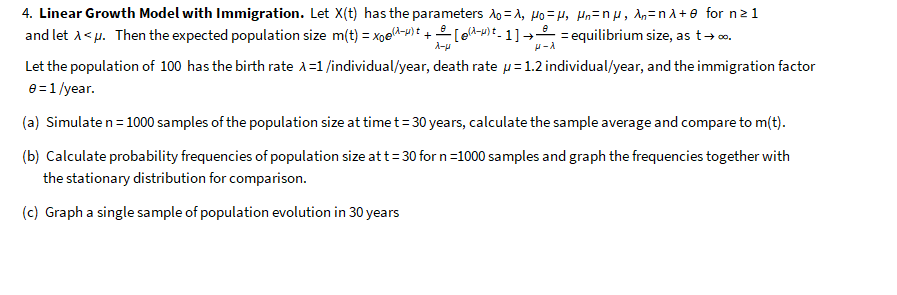 4  Linear Growth Model With Immigration  Letx(t) H