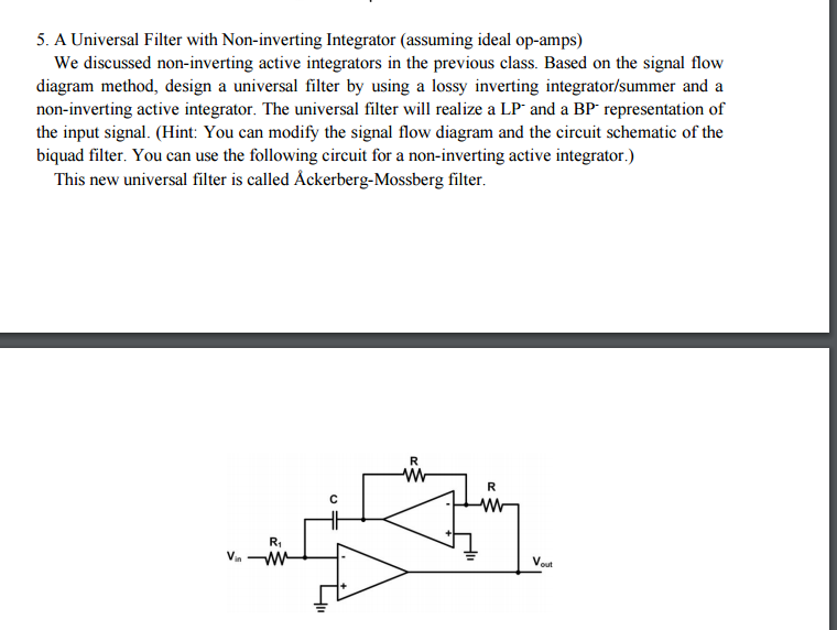 Solved: A Universal Filter With Non-inverting Integrator
