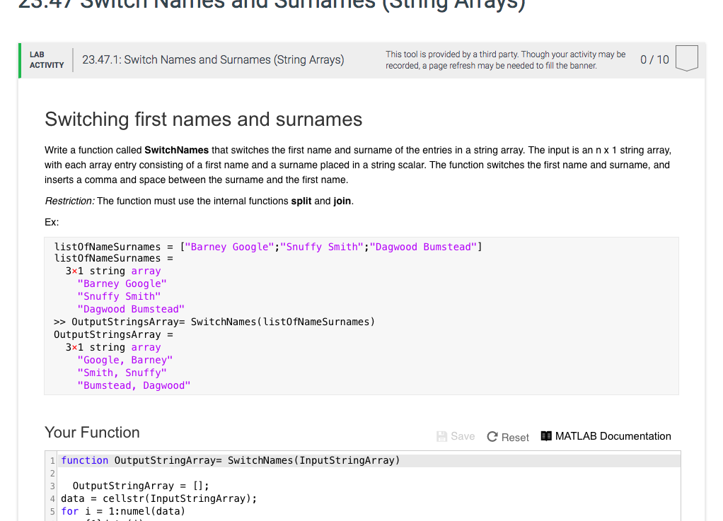 Solved: 0 LAB ACTVTY 23 47 1: Switch Names And Surnames (S