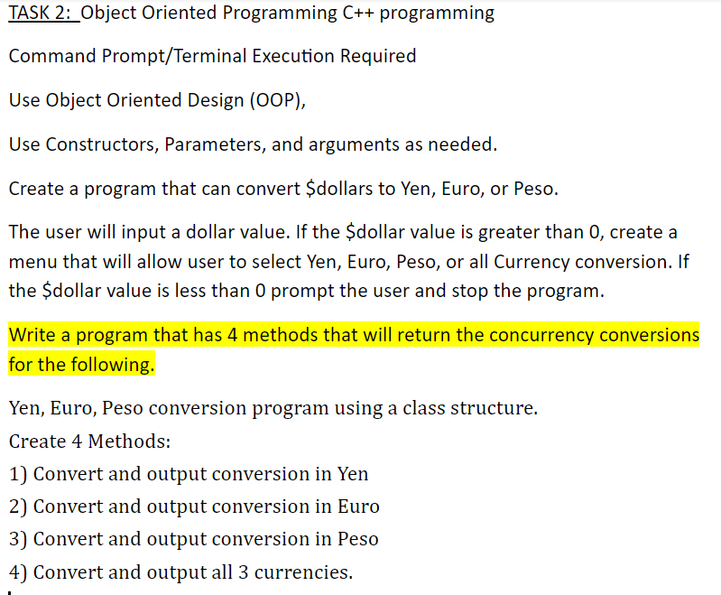 Solved: TASK 2: Object Oriented Programming C+ Programming