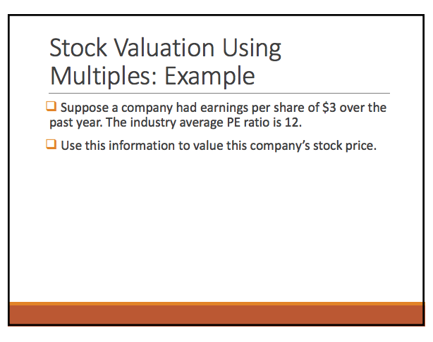 Solved: Stock Valuation Using Multiples: Example Suppose A