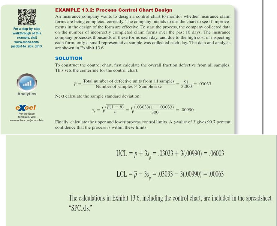 solved complete example 13 2 process control chart desi