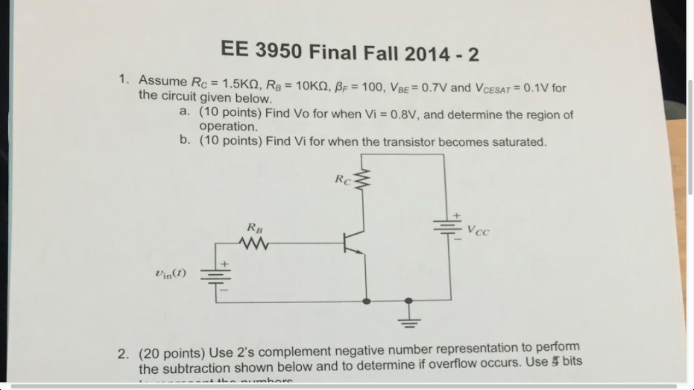 Solved Assume R C 1 5kohm B 10kohm Beta F 100 S Complement Circuit Diagram