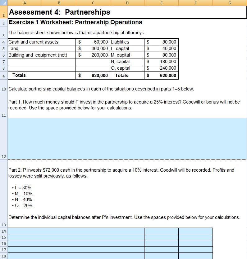 Solved: Assessment 4: Partnerships 2 Exercise 1 Worksheet ...