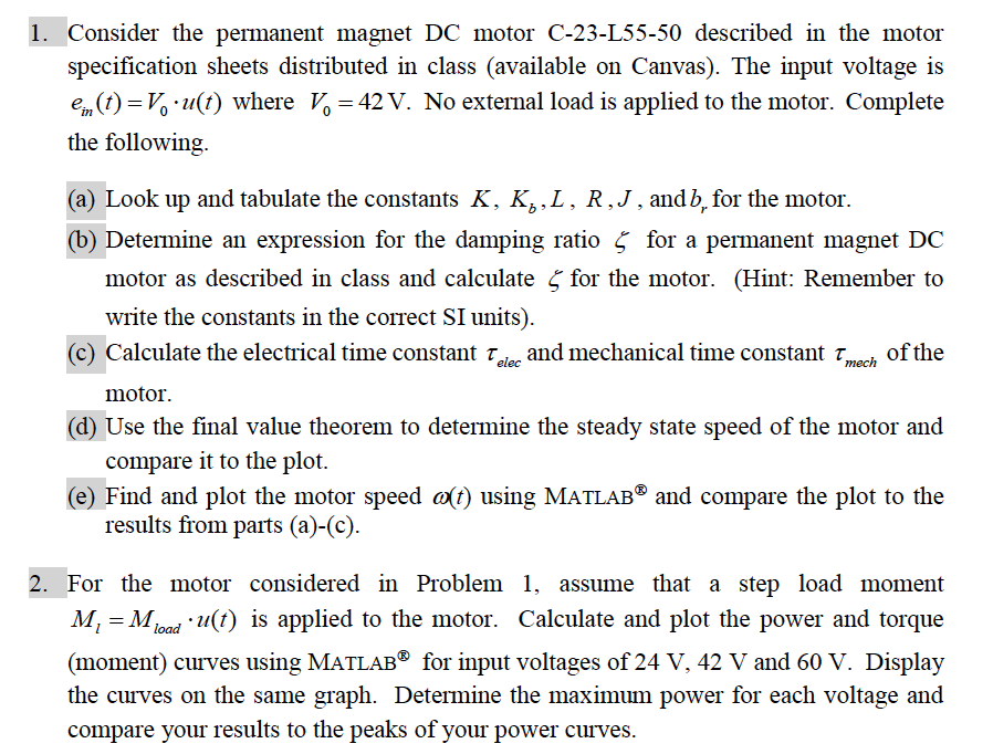 1  Consider The Permanent Magnet DC Motor C-23-L55