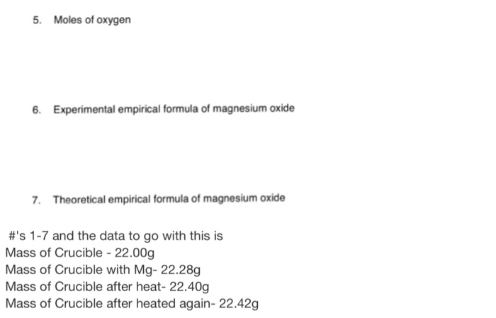 empirical formula of magnesium and oxygen