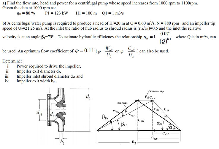 Solved: A) Find The Flow Rate, Head And Power For A Centri