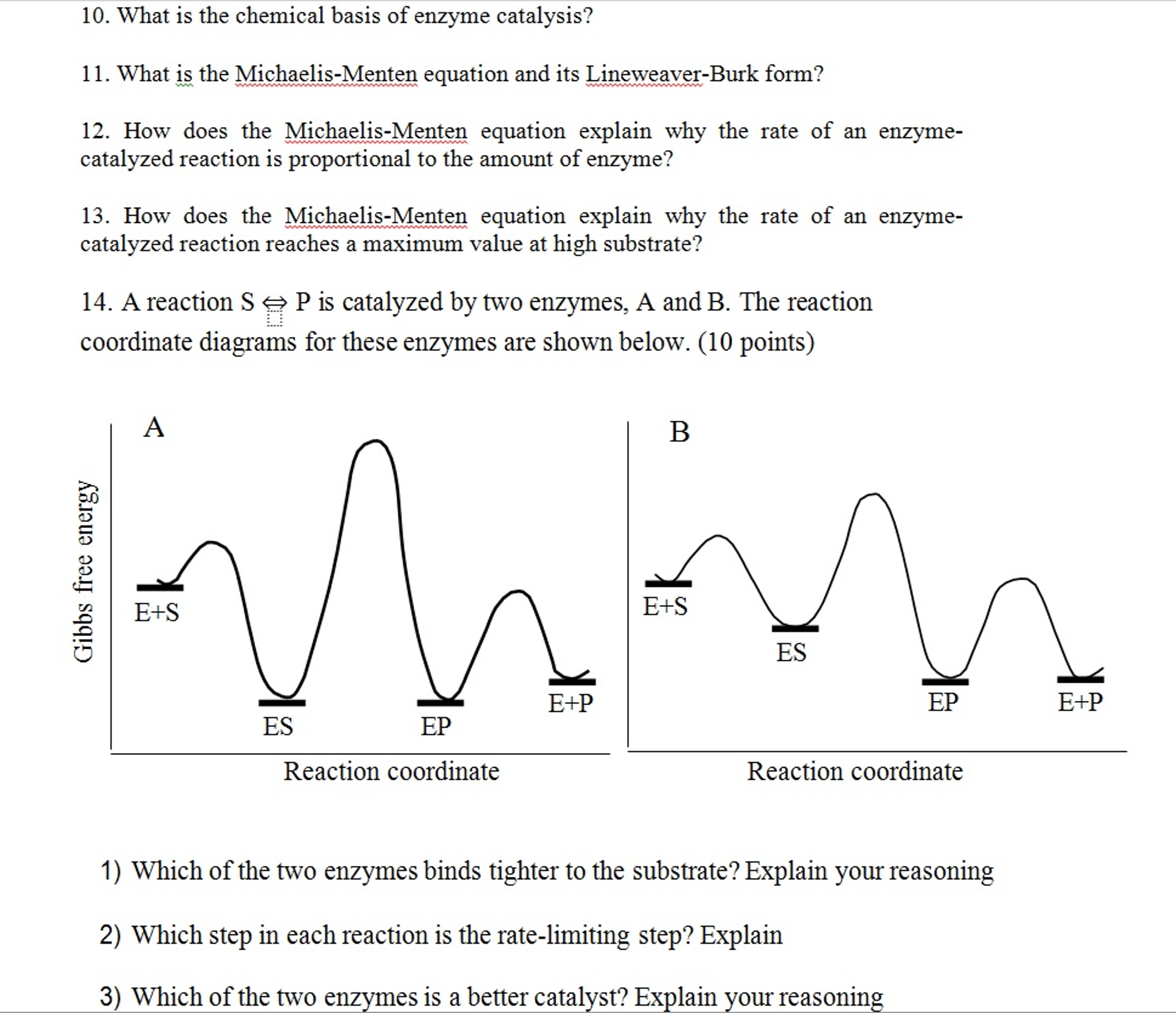 Solved What Is The Chemical Basis Of Enzyme Catalysis Wh