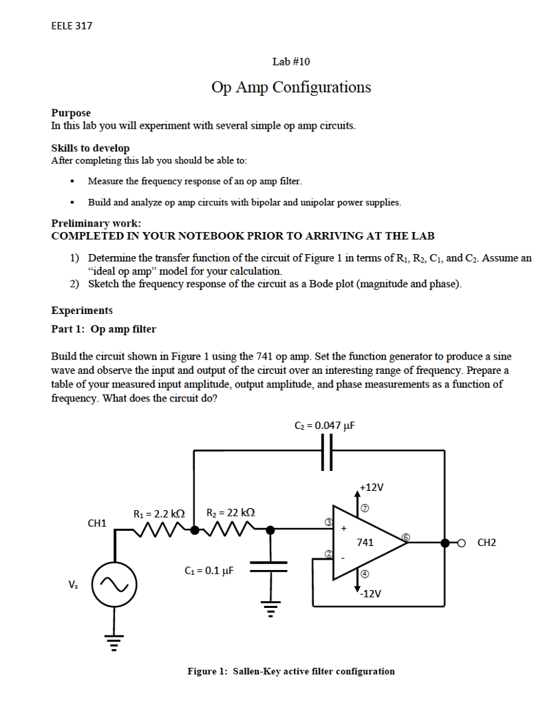 Solved Eele 317 Lab 10 Op Amp Configurations Purpose In Basic Operational Amplifier Using Ic 741 This You Will Experiment With