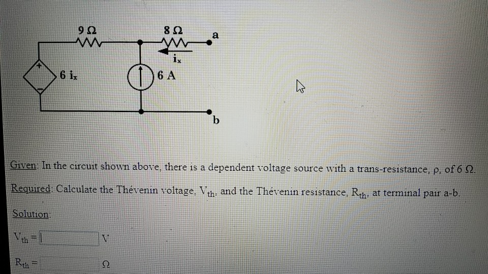 9? 8? 6 ix 6 A Given In the circuit shown above, there is a dependent voltage source with a trans-resistance. p, of 6 2 Required Calculate the Thévenin voltage. Vth: and the Thévenin resistance. Rth: at terminal pair a-b. Solution th Rth 2