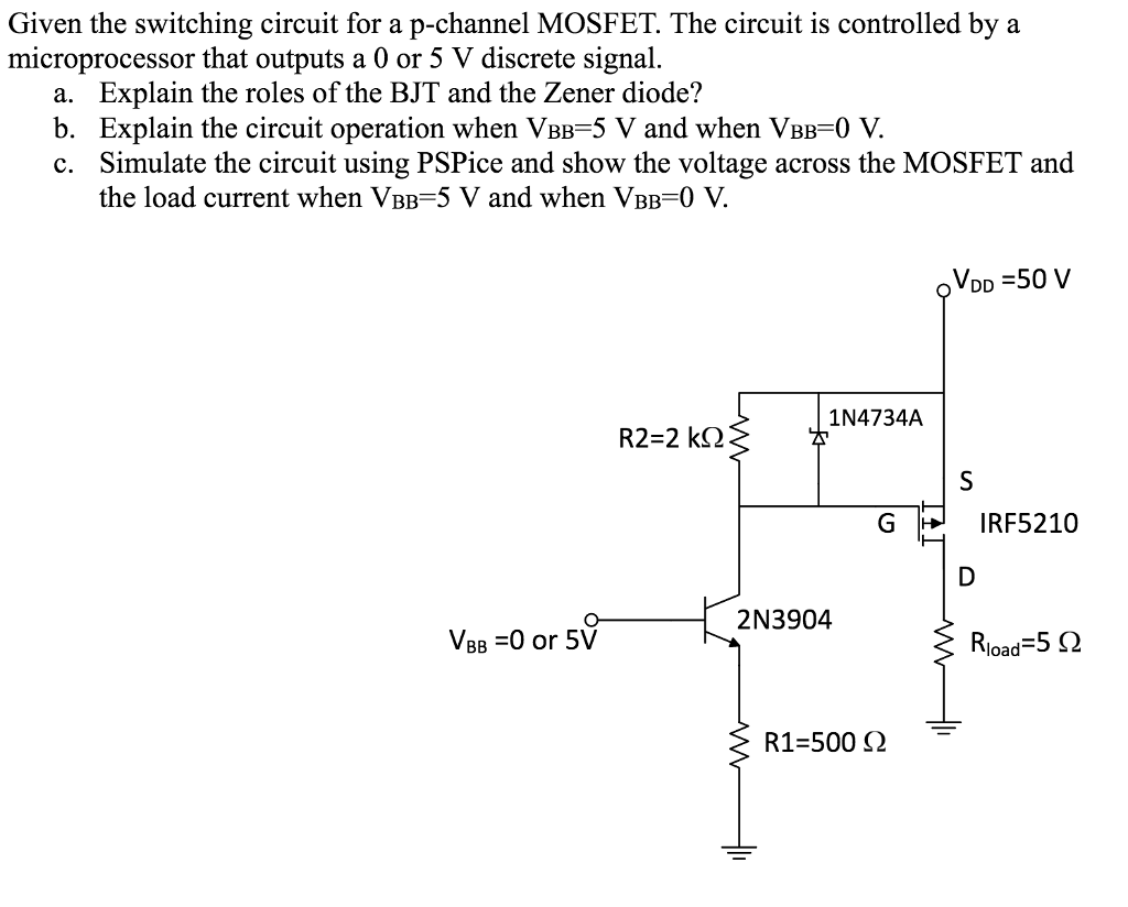 Given the switching circuit for a p-channel MOSFET