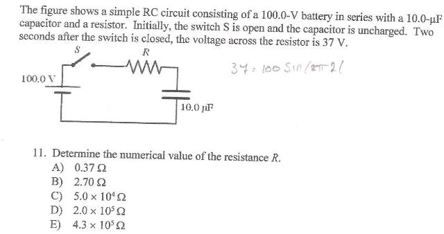 solved the figure shows a simple rc circuit consisting of rh chegg com