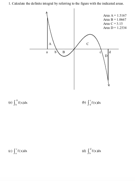 Solved 1 Calculate The De Finite Integral By Referring T