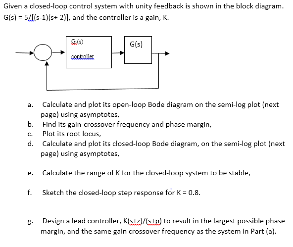 Solved: Given A Closed-loop Control System With Unity Feed ...