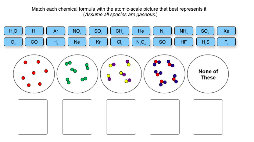 Solved Match Each Chemical Formula With The Atomic Scale