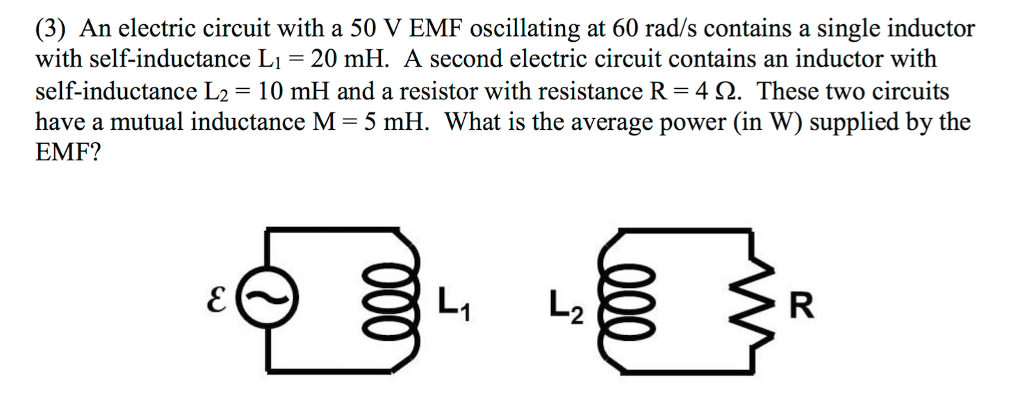 Solved An Electric Circuit With A 50 V Emf Oscillating At Inductor L1 Is The To Be