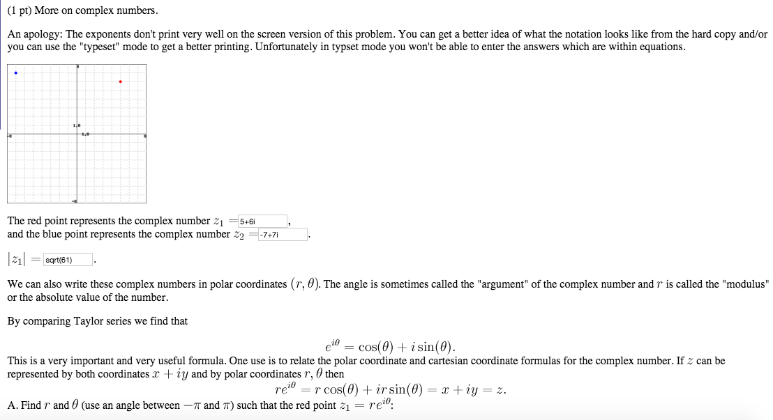 Solved: (1 Pt) More On Complex Numbers An Apology: The Exp