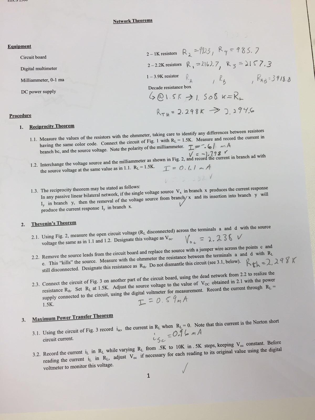 Solved: Network Theorem Equipment 2 K Resistors Circuit Bo