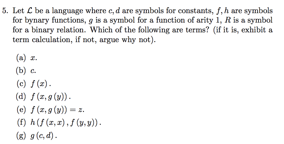Solved 5 Let L Be A Language Where C D Are Symbols For