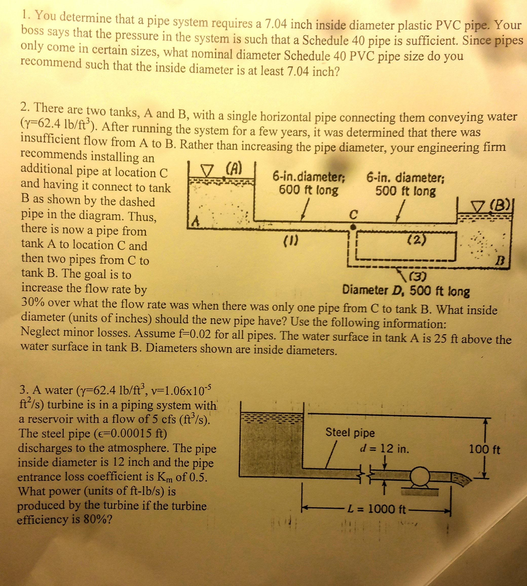 You Determine That A Pipe System Requires A 7 04 I