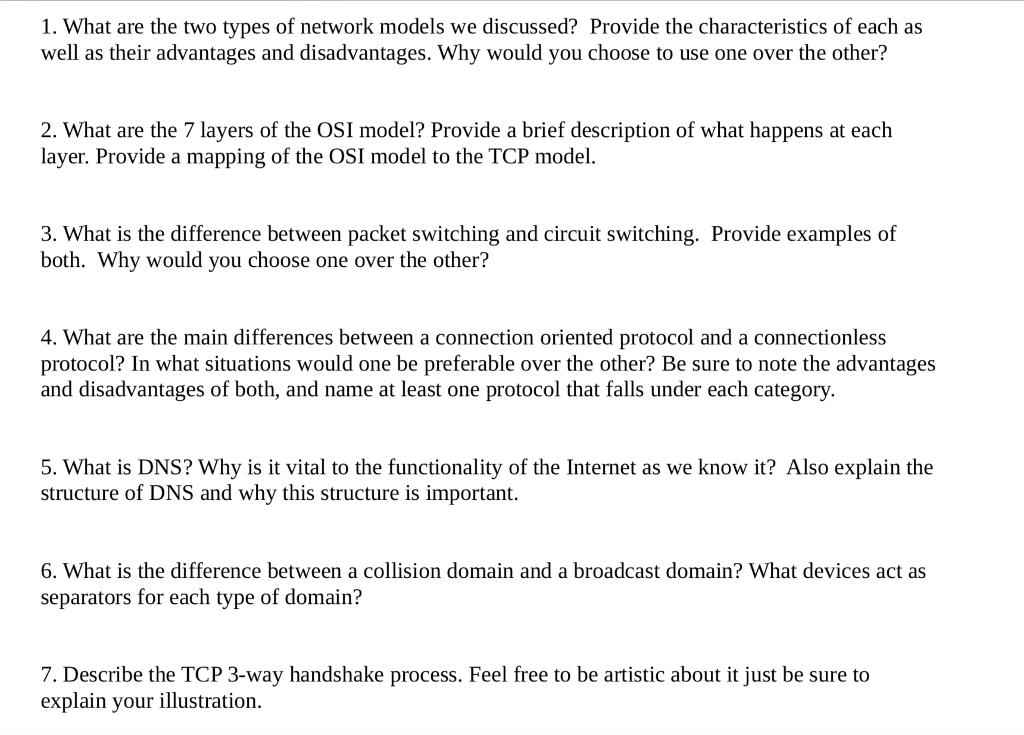 Solved: 1. What Are The Two Types Of Network Models We Dis ...