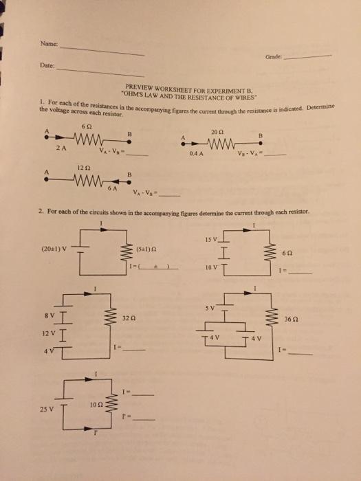 Solved Grade Preview Worksheet For Experiment B I For