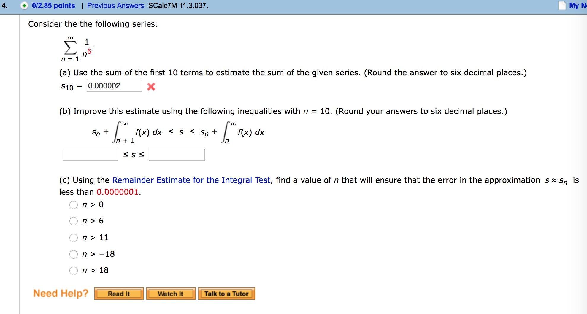 Calculus archive february 23 2016 chegg consider the the following series 1n6 a use falaconquin