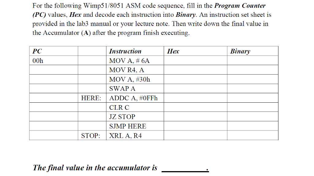 Solved For The Following Wimp518051 Asm Code Sequence F