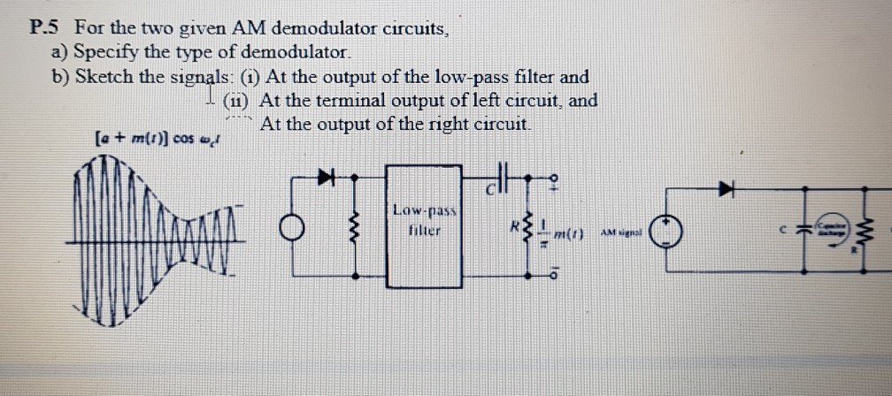Solved: For The Two Given AM Demodulator Circuits, A) Spec