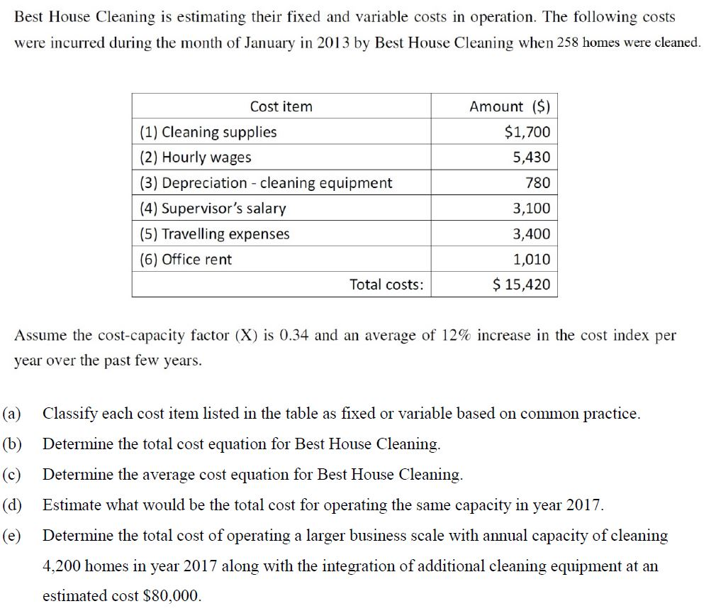 Solved: Best House Cleaning Is Estimating Their Fixed And