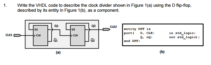 Solved: Write The VHDL Code To Describe The Clock Divider