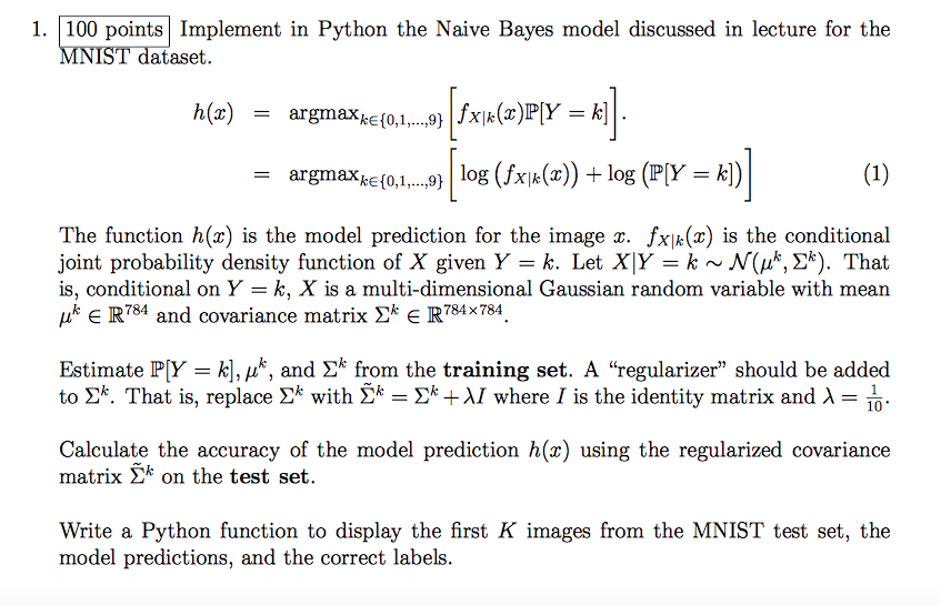 Implement In Python The Naive Bayes Model Discusse    | Chegg com