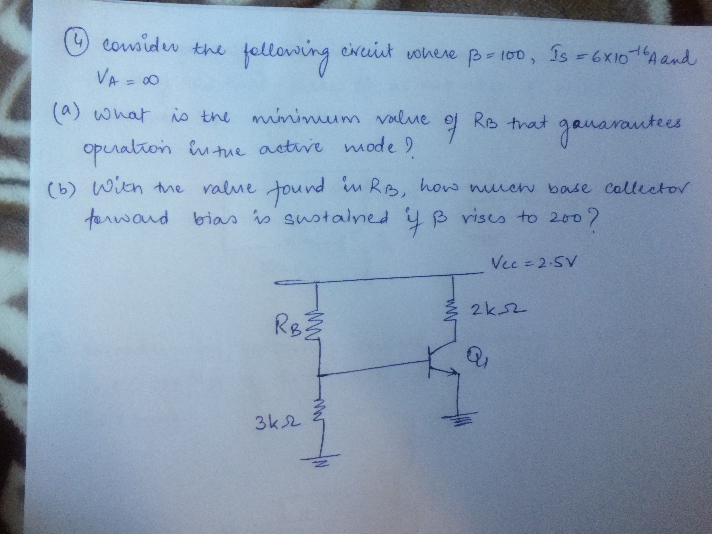 Solved: Consider The Following Circuit Where Beta = 100, I ...