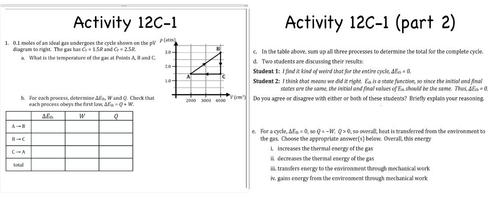 Solved Activity 12c 1 Activity 12c 1 Part 2 P Atm 1 0
