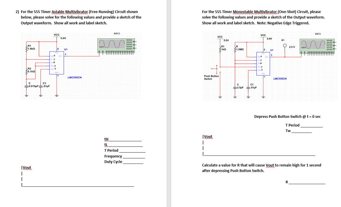 555 Timer Astable Circuit Diagram | Solved For The 555 Timer Astable Multivibrator Free Runn