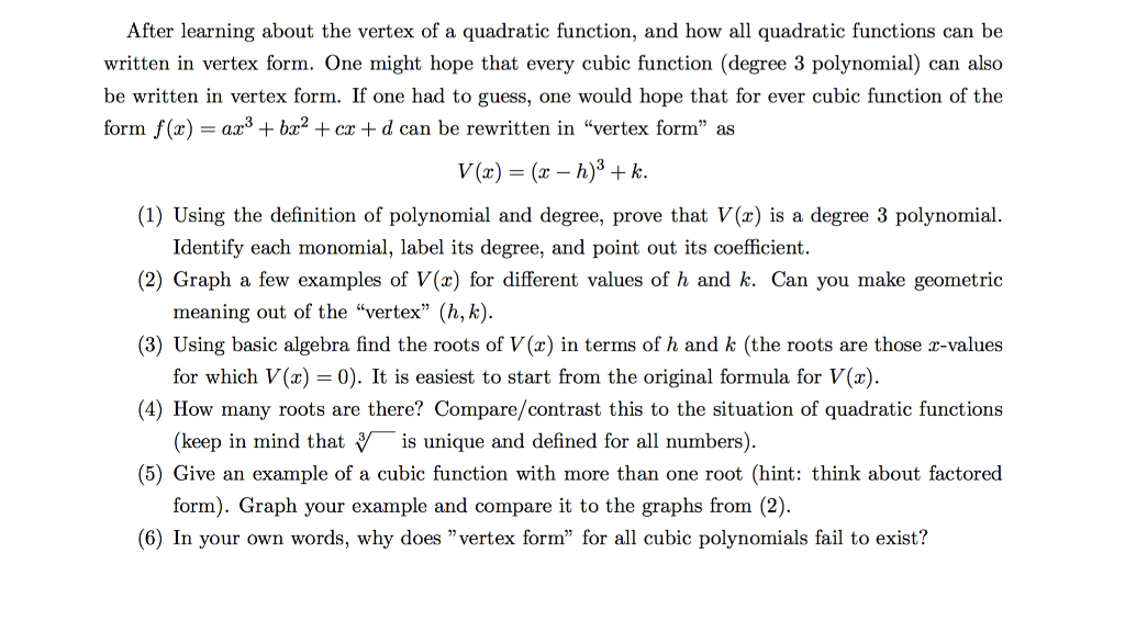 Solved After Learning About The Vertex Of A Quadratic Fun
