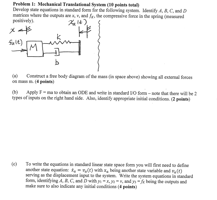 Solved Problem 1 Mechanical Translational System 10 Poi