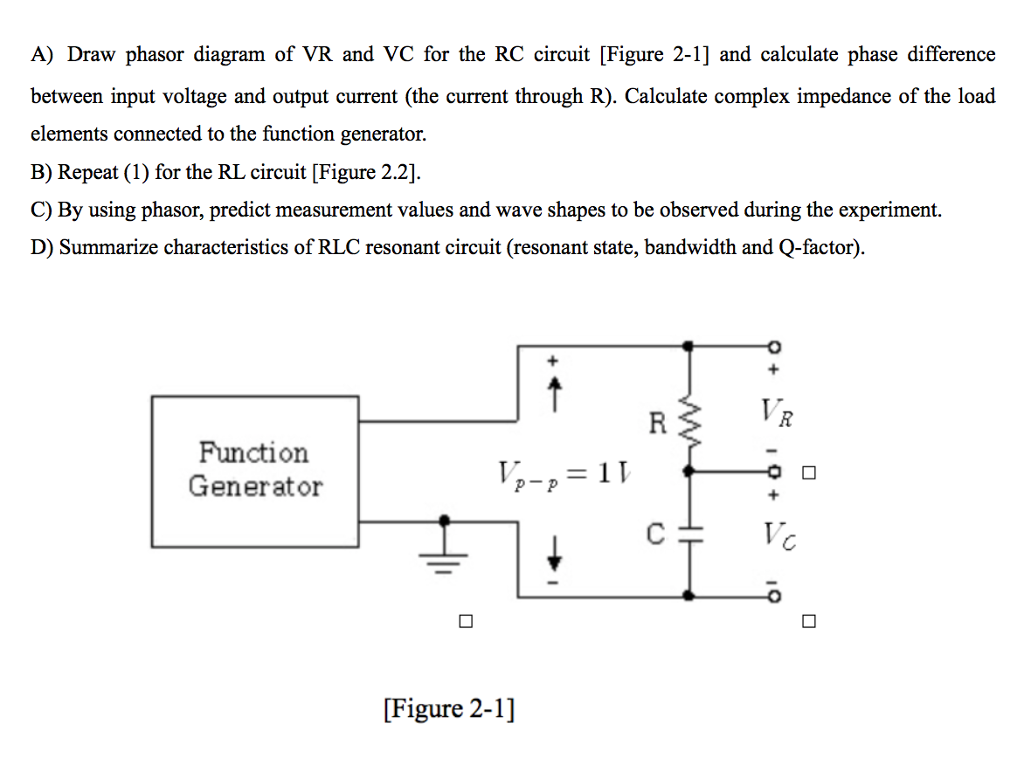 Solved A Draw Phasor Diagram Of Vr And Vc For The Rc Cir Function Generator Circuit Pictures Figure 2