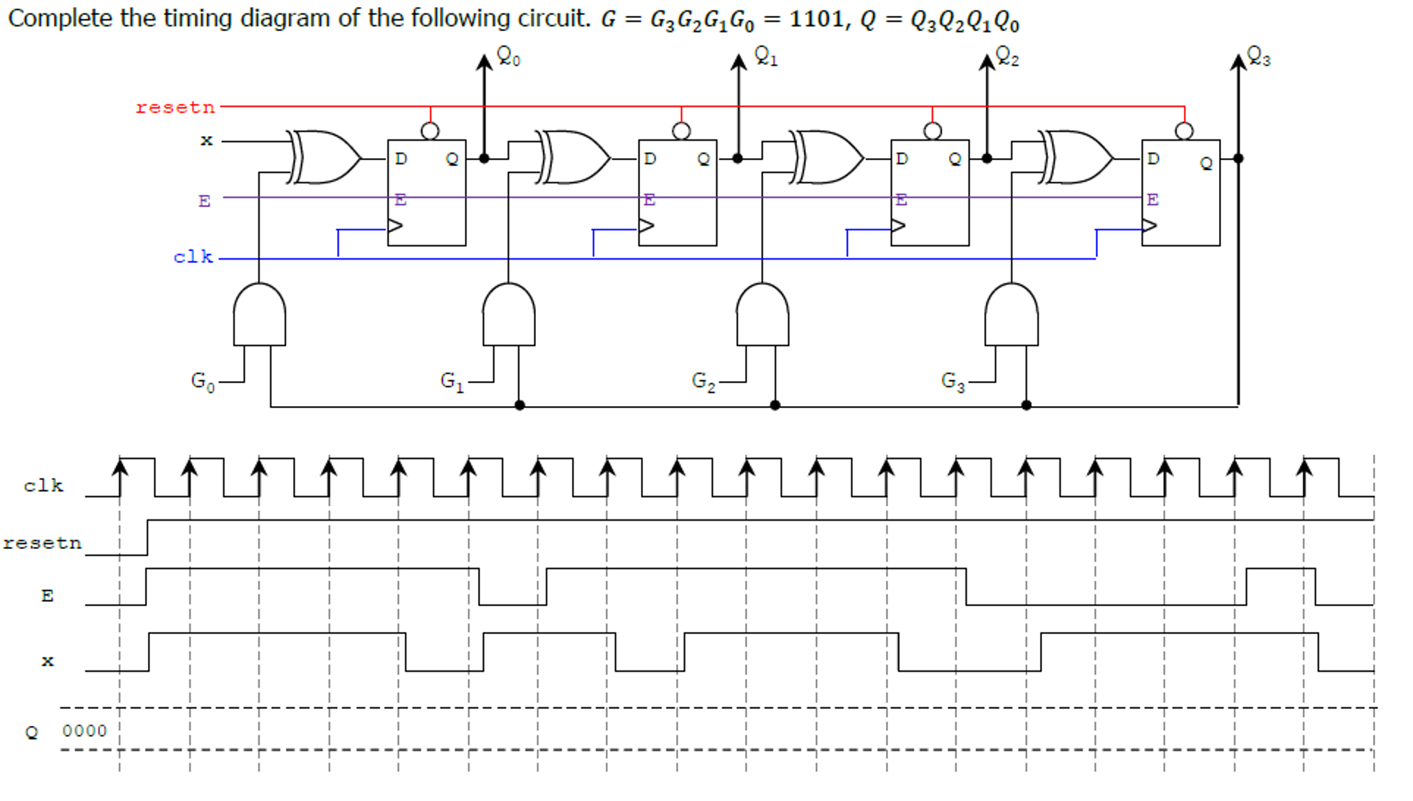 Solved Complete The Timing Diagram Of Following Circu Circuit