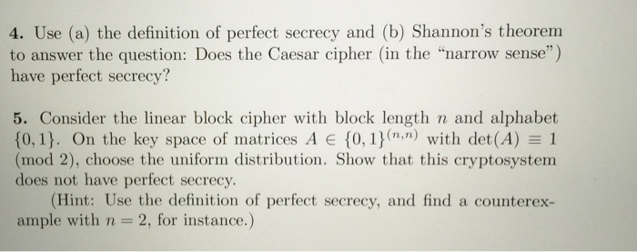 Solved: Use (a) The Definition Of Perfect Secrecy And (b