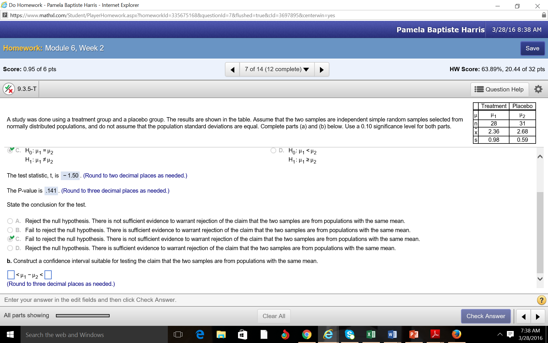Statistics And Probability Archive | March 28, 2016 | Chegg.com